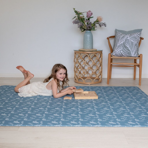 Large Botanical Play Mat - Steel Blue