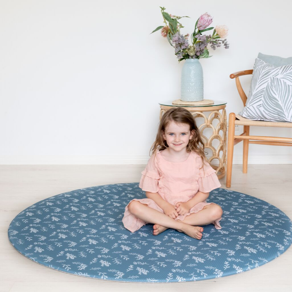 Round Botanical Play Mat - Steel Blue