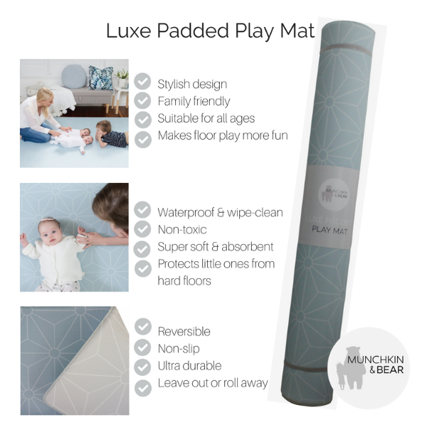 Medium Powder Blue Scandi Stars Play Mat (soft grey reverse)