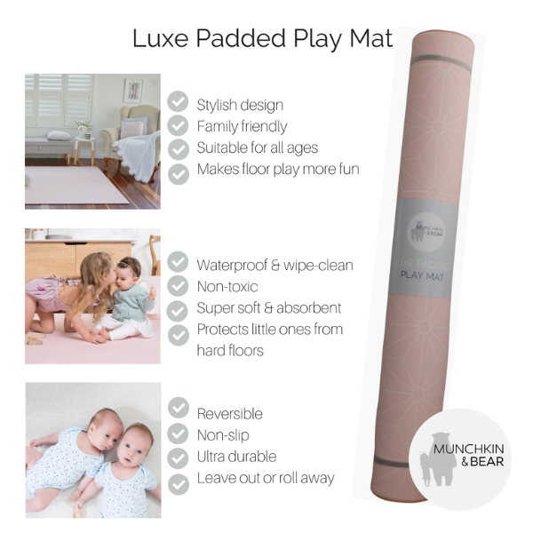 MEDIUM BLUSH Scandi Stars Padded Play Mat (soft grey reverse)