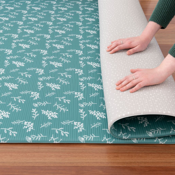Round Botanical Play Mat - Emerald Green