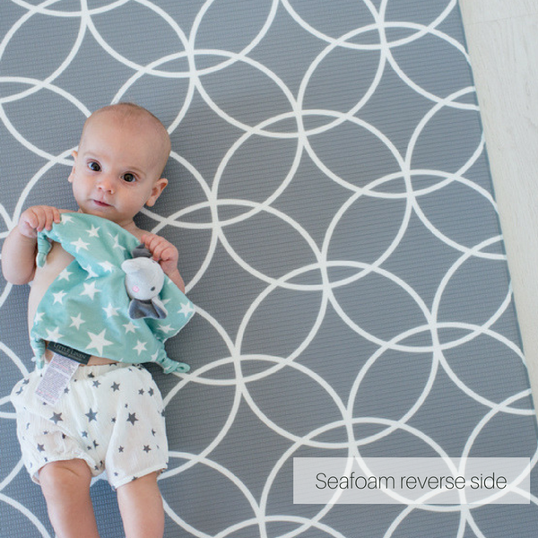 Medium Seafoam Hamptons Padded Play Mat (dark grey reverse)