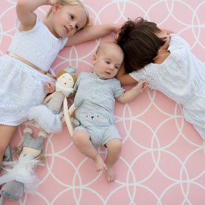 Medium Peony Pink Hamptons Padded Play Mat (dark grey reverse)