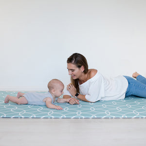 LARGE SEAFOAM Hamptons Padded Play Mat (dark grey reverse)