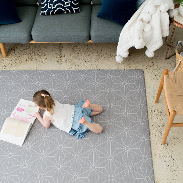 Large Scandi Stars Play Mat - Dark Grey