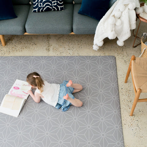 LARGE DARK GREY Scandi Stars Padded Play Mat (soft grey reverse)