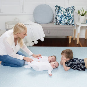LARGE POWDER BLUE Scandi Stars Padded Play Mat (soft grey reverse)