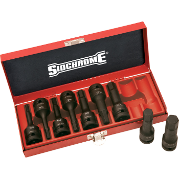 "Sidchrome XS4H09MT 9 Piece 1/2""Drive In-Hex Impact Socket Set – Metric"