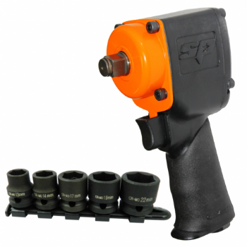 "SP Tools SP-1141B 1/2""Dr Stubby Impact Wrench with Bonus Impact Socket Set"