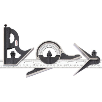 "Starrett 9ME-300 300mm and 11-3/4 – 23-1/2"" Combination Set with Square, Center and Non-Reversible Protractor Head and Blade"