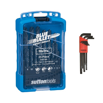 Sutton D102-SETS Jobber Drill Sets – Blue Bullet Plus Bondhus 10999 9pc Metric Hex Key Set
