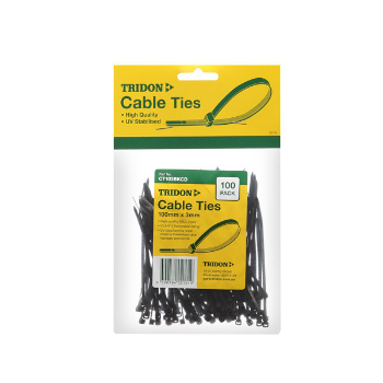 Tridon CT408BKCD Black UV (Stabilised) Cable Tie 100pc