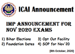 ICAI Important Announcement for Nov 20 Exams