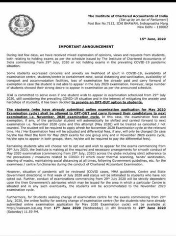 Clarification Issued by ICAI regarding July 2020 Exams