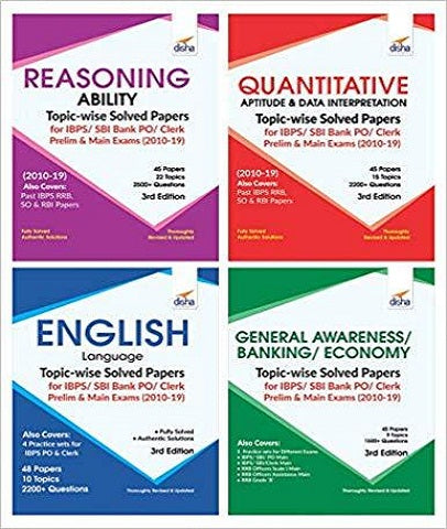 Topic-Wise Solved Papers for IBPS Bank PO/Clerk Prelim & Main Exam (Set of 4) by Disha Experts - Zeroinfy