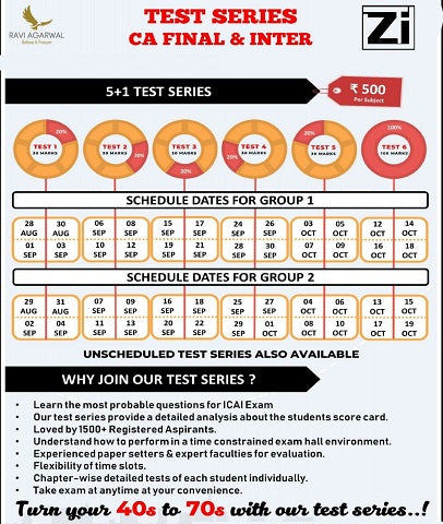 CA Final Test Series for Nov 19 by Ravi Agarwal (New/Old) - 6 Tests - zeroinfy