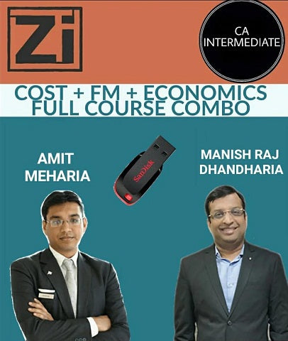 CA INTER Cost, FM and Economics Full Course Combo by Manish Raj Dhandharia and Amit Meharia - Zeroinfy