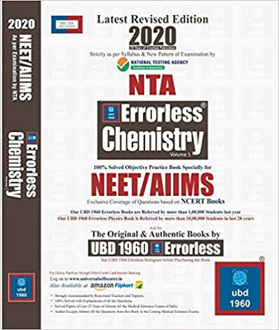 UBD 1960 Errorless Chemistry for NEET/AIIMS Latest 2020 Edition as per Examination by NTA Volume 1-2 - Zeroinfy
