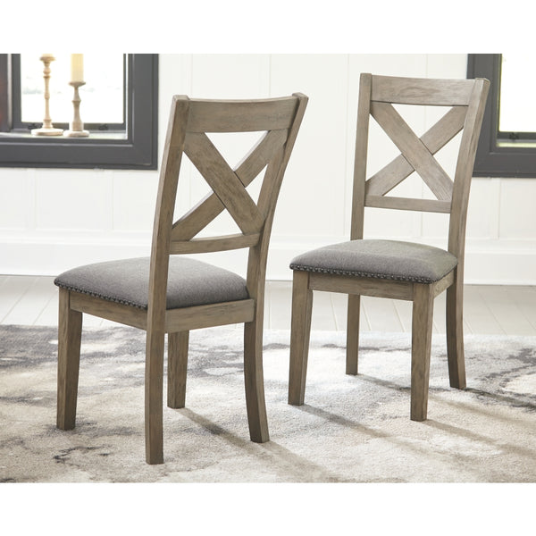 Ashley D617-01 Gray Upholstered Dining Room Chairs - Set of 2
