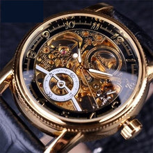 Load image into Gallery viewer, Forsining Men's Hollow Skeleton Gold Bezel Automatic Watch