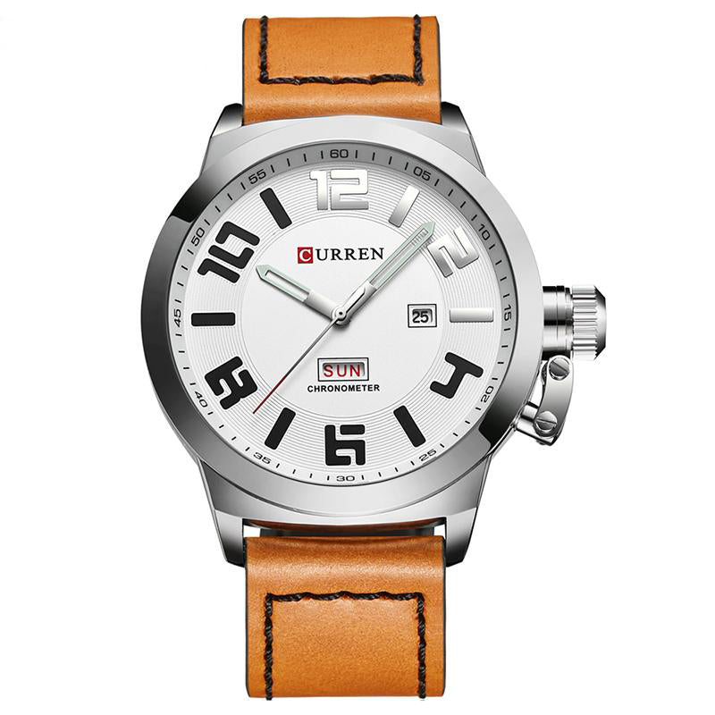 Curren Chronometer Men's Leather Band Strap Watch