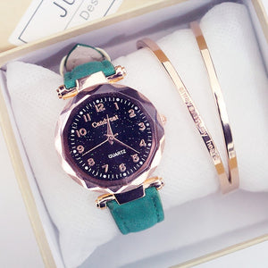 Fashion Delicate Crystal Starry Sky Women's Watch Bracelet Set