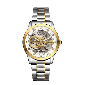 "TIME100 Men's ""Silver & Gold Leverage"" Mechanical Self Wind Skeleton Watch"