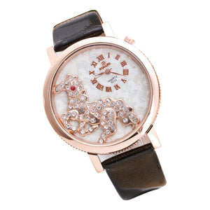 Fashion Crystal Horse Dress Women's Watch
