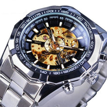 "Load image into Gallery viewer, Forsining Stainless Steel ""Skeleton Contour"" Waterproof Men's Mechanical Watch"
