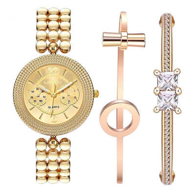 LIANDU CZ Gold & Rose Gold Bracelet Watch Set