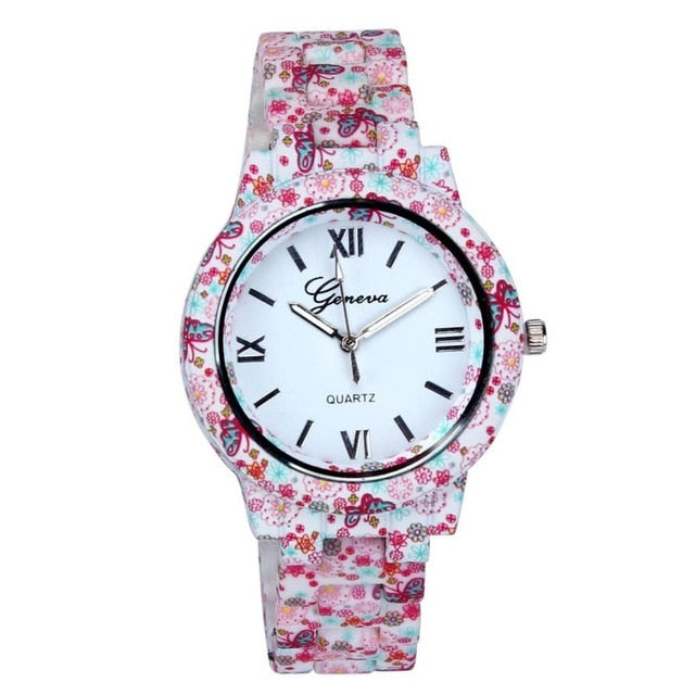 Imitation Porcelain Women's Printed Band Quartz Watch #LH