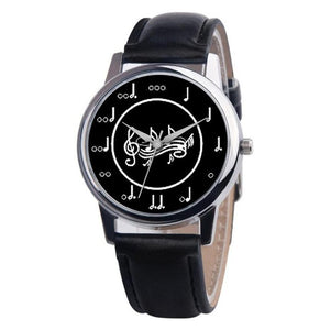 Musical Note Leather Band Quartz Women's Watch