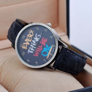 "Vintage ""Every Thing Will Be Ok"" Denim Band Quartz Watch"