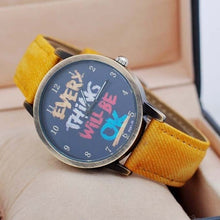 "Load image into Gallery viewer, Vintage ""Every Thing Will Be Ok"" Denim Band Quartz Watch"
