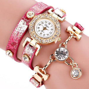 DUOYA Women's Crystal Pendant Bracelet Watch