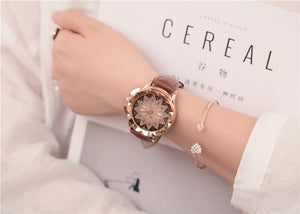 "Women's ""Lotus Rose"" Vintage Rhinestone Quartz Leather Band"