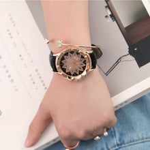 "Load image into Gallery viewer, Women's ""Lotus Rose"" Vintage Rhinestone Quartz Leather Band"