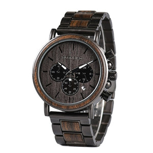 BOBO BIRD Business Men Metal Wood Watch Chronograph Date Display with Gift Box U-Q26