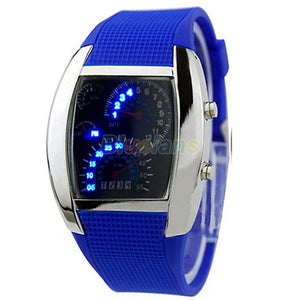 RPM Men's Turbo Blue LED Sports Car Dial Watch