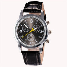 "Load image into Gallery viewer, Men's Chronograph ""Yellow Hand"" Faux Leather Band Watch"