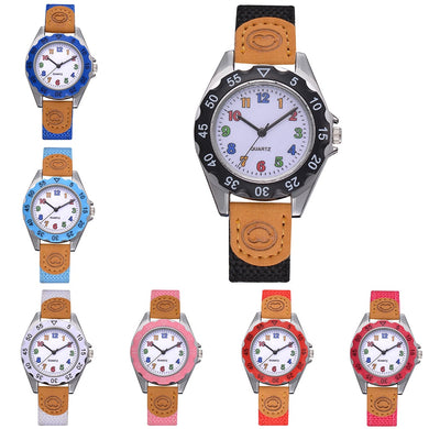 Kids Colorful Strap Learning Time Numbers Quartz Watch