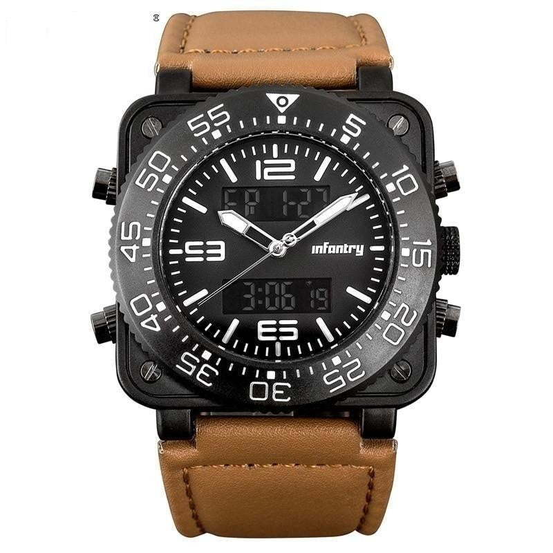 Men's Military Digital LED Square Big Face Leather Watch