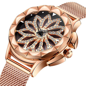 Crystal Rose Gold Women's Rhinestone Rotating Flower Dial Watch
