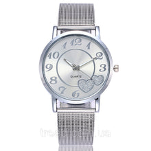 Load image into Gallery viewer, Women's Mesh Love Heart Dial Fashion Stainless Steel Quartz Watch