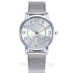 Women's Mesh Love Heart Dial Fashion Stainless Steel Quartz Watch