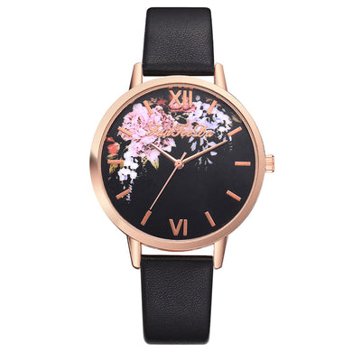 Casual Women's PU Leather Band Flower Pattern Quartz Watch