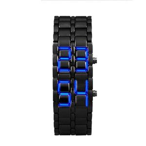 "Men's Iron Samurai Metal Bracelet ""BLUE LAVA"" LED Digital Watch"