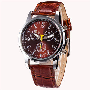 "Men's Chronograph ""Yellow Hand"" Faux Leather Band Watch"