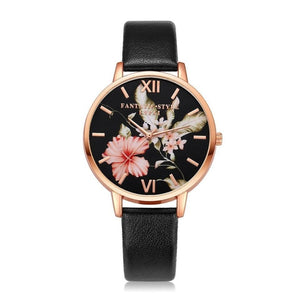 "Lvpai Women's Bracelet ""Roses Are Gold"" Flowers Leather Watch"