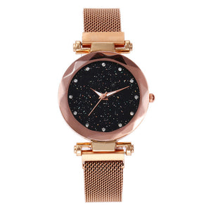 Vansvar Quartz Stainless Steel Band Mesh Magnet Buckle Analog Watch